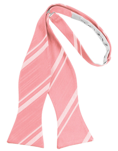Coral Reef Striped Satin Self-Tie Formal Bow Tie