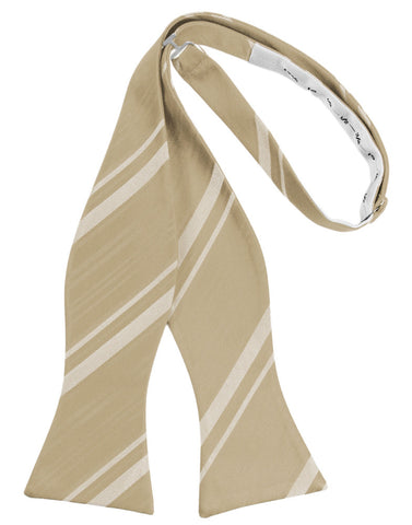 Golden Striped Satin Self-Tie Formal Bow Tie