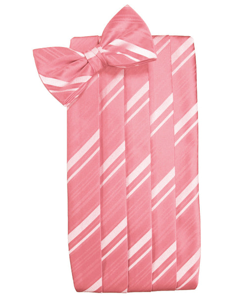 Guava Striped Satin Cummerbund Set