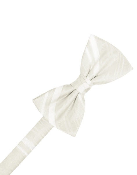 Ivory Striped Satin Formal Bow Tie