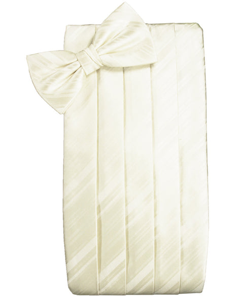 Ivory Striped Satin Cummerbund Set