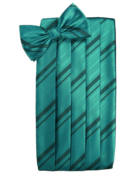 Jade Striped Satin Cummerbund Set