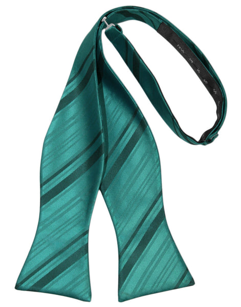 Jade Striped Satin Self-Tie Formal Bow Tie