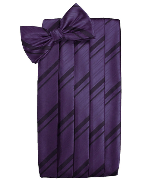 Lapis Purple Striped Satin Cummerbund Set