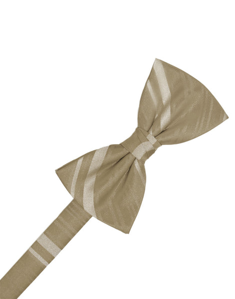 Latte Striped Satin Formal Bow Tie
