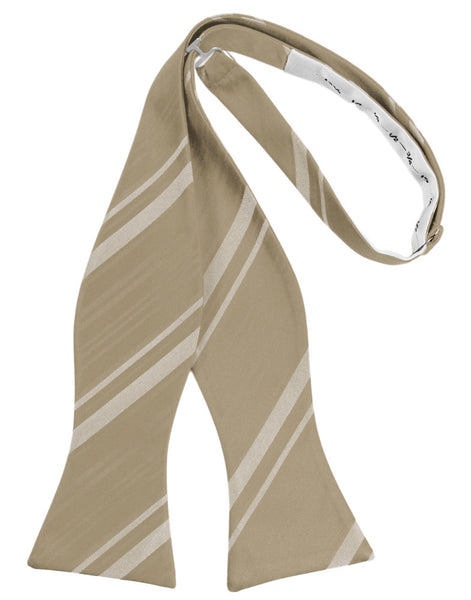 Latte Striped Satin Self-Tie Formal Bow Tie