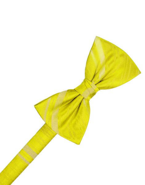 Lemon Striped Satin Formal Bow Tie