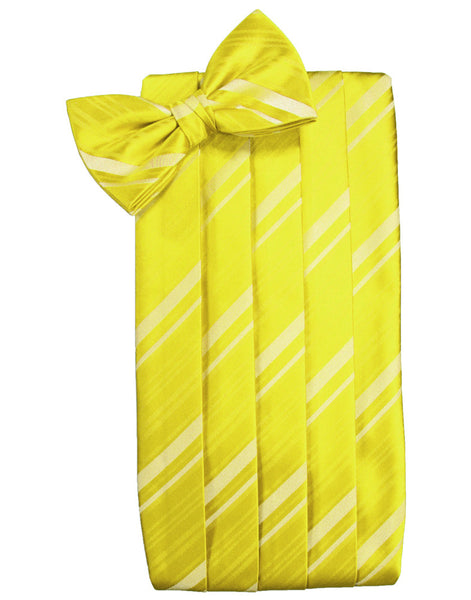 Lemon Striped Satin Cummerbund Set