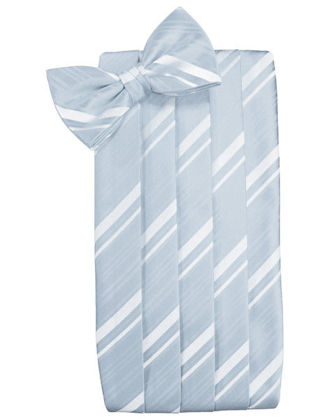 Light Blue Striped Satin Cummerbund Set