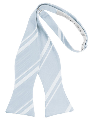 Light Blue Striped Satin Self-Tie Formal Bow Tie