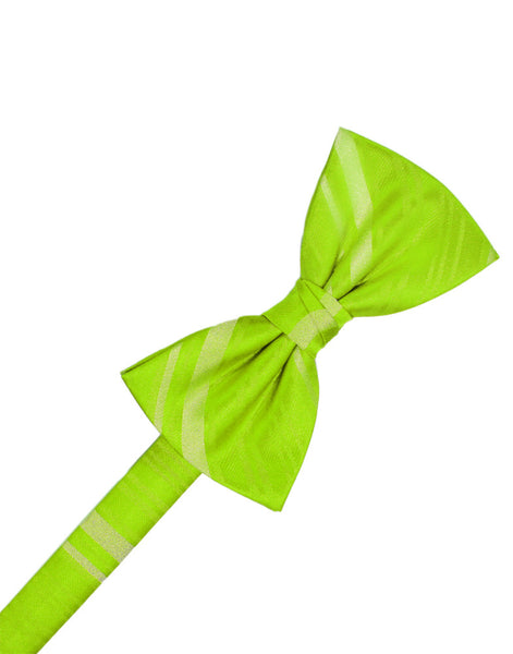 Lime Striped Satin Formal Bow Tie