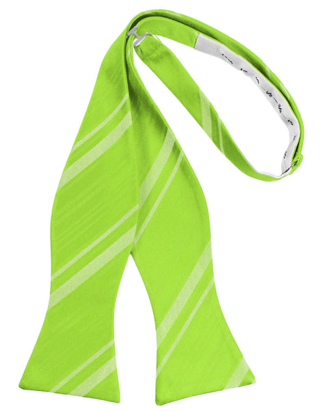 Lime Striped Satin Self-Tie Formal Bow Tie