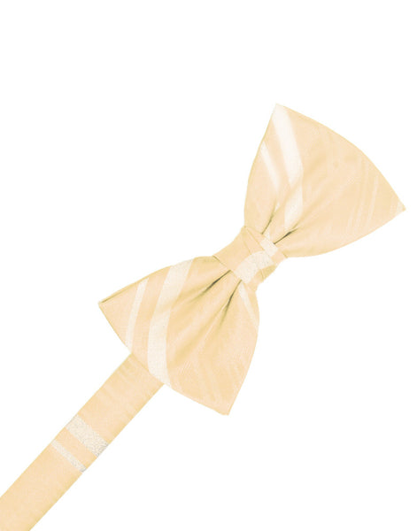 Peach Striped Satin Formal Bow Tie