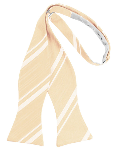 Peach Striped Satin Self-Tie Formal Bow Tie