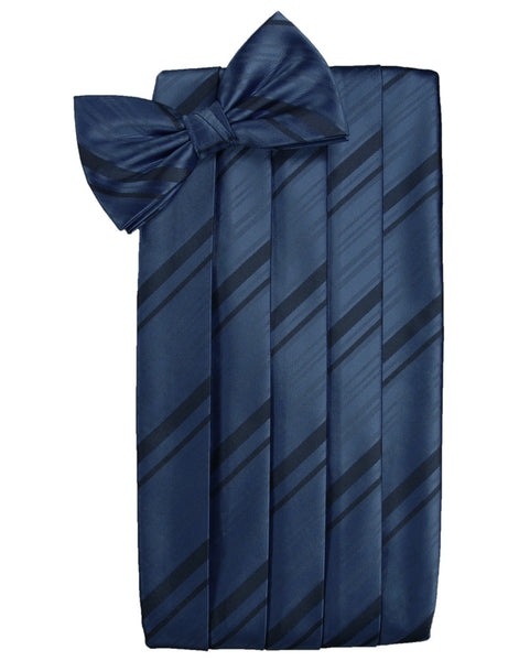 Peacock Blue Striped Satin Cummerbund Set