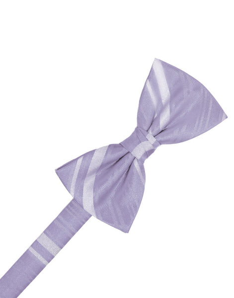 Periwinkle Striped Satin Formal Bow Tie