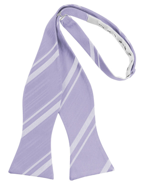 Periwinkle Striped Satin Self-Tie Formal Bow Tie