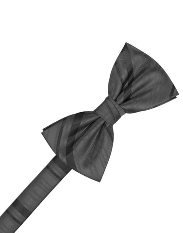 Pewter Striped Satin Formal Bow Tie