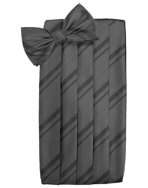 Pewter Striped Satin Cummerbund Set