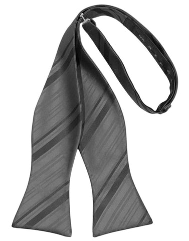Pewter Striped Satin Self-Tie Formal Bow Tie