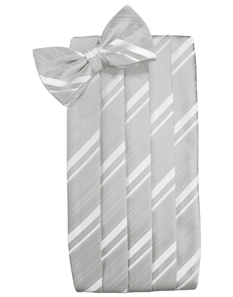 Platinum Striped Satin Cummerbund Set