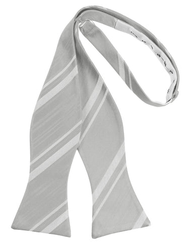 Platinum Striped Satin Self-Tie Formal Bow Tie
