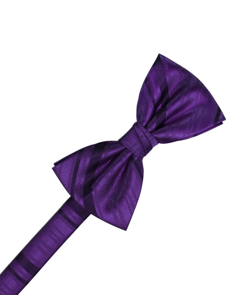 Purple Striped Satin Formal Bow Tie