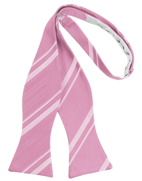 Rose Petal Striped Satin Self-Tie Formal Bow Tie