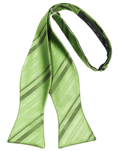 Sage Striped Satin Self-Tie Formal Bow Tie