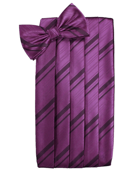 Sangria Striped Satin Cummerbund Set