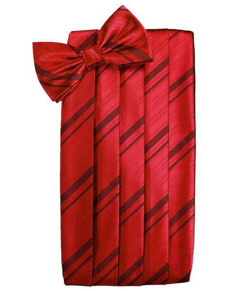 Scarlet Red Striped Satin Cummerbund Set