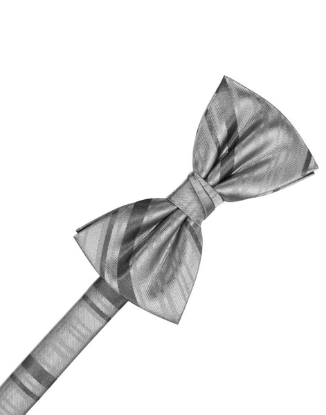 Silver Striped Satin Formal Bow Tie