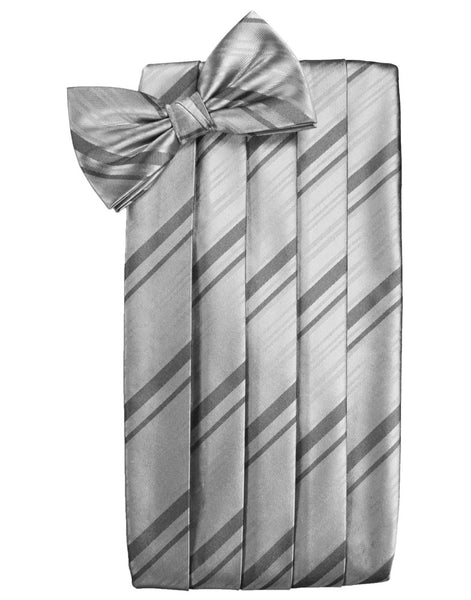 Silver Striped Satin Cummerbund Set