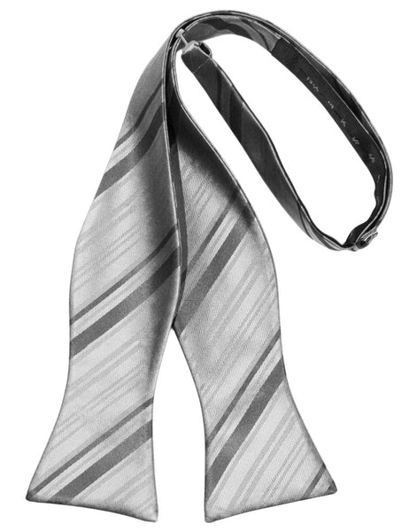 Silver Striped Satin Self-Tie Formal Bow Tie
