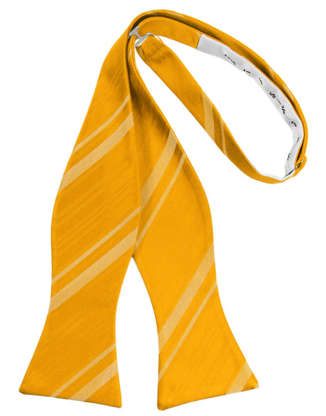 Tangerine Striped Satin Self-Tie Formal Bow Tie