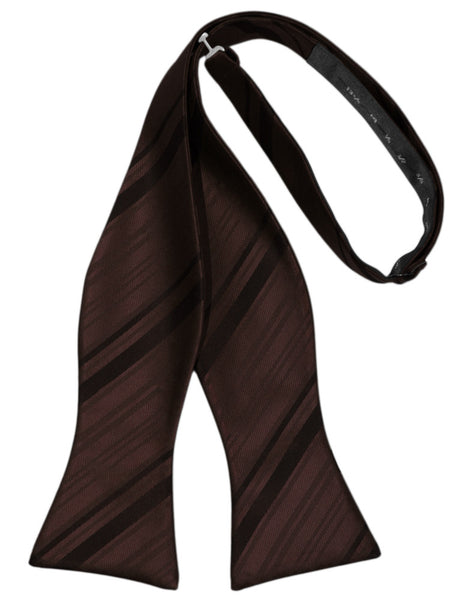 Truffle Striped Satin Self-Tie Formal Bow Tie