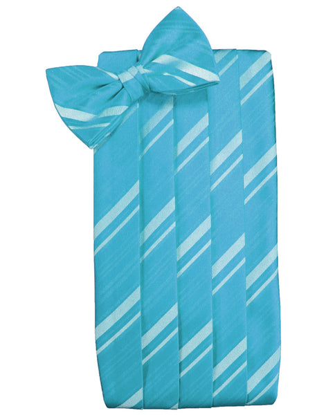 Turquoise Striped Satin Cummerbund Set