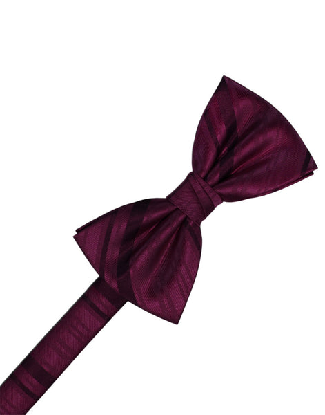 Wine Striped Satin Formal Bow Tie
