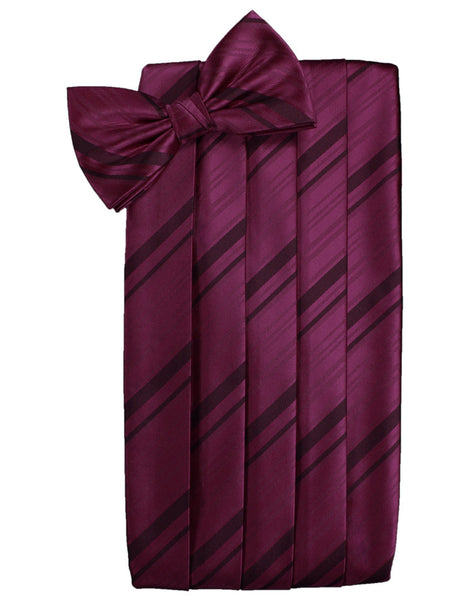 Wine Striped Satin Cummerbund Set