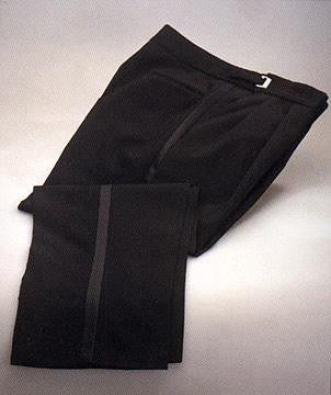 100% Worsted Wool Tuxedo Trousers - Adjustable Waist Black Tuxedo Pants