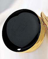 Faux Black Onyx Button Cover with Gold Trim