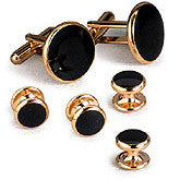 Black Cufflinks & Studs With Gold Trim (CP2)
