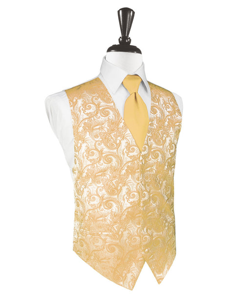 Apricot Tapestry Tuxedo Vest and Tie Set