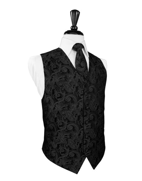 Black Satin Tapestry Full Back Tuxedo Vest and Tie Set by Cardi