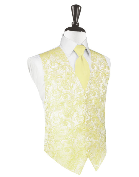 Canary Yellow Tapestry Tuxedo Vest and Tie Set