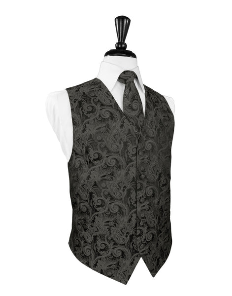 Charcoal Tapestry Tuxedo Vest and Tie Set