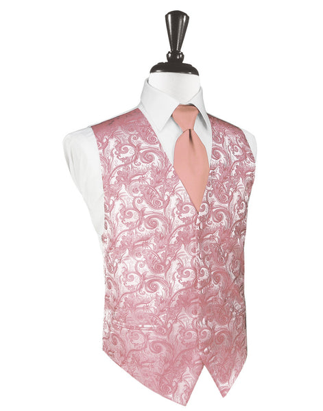 Coral Tapestry Tuxedo Vest and Tie Set