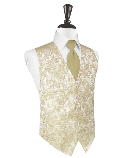 Golden Tapestry Tuxedo Vest and Tie Set
