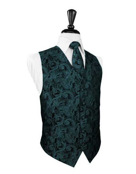 Jade Tapestry Tuxedo Vest and Tie Set