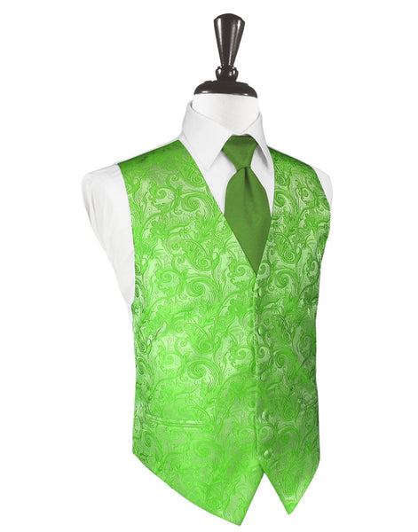 Kelly Green Tapestry Tuxedo Vest and Tie Set